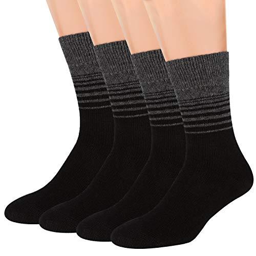 Air Wool Socks, 2 packs Merino Wool Organic Cotton Rich Mens Black Dress Socks (Striped Black, L)