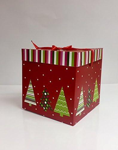 dalbags – Lote de unidades 2 cajas regalo Navidad completo de cordones color con fondo rojo y dibujos varios tamaño 30 x 30 x 30 cm: Amazon.es: Hogar