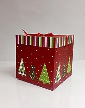 dalbags - Lote de unidades 2 cajas regalo Navidad completo de cordones color con fondo rojo y dibujos varios tamaño 30 x 30 x 30 cm: Amazon.es: Hogar