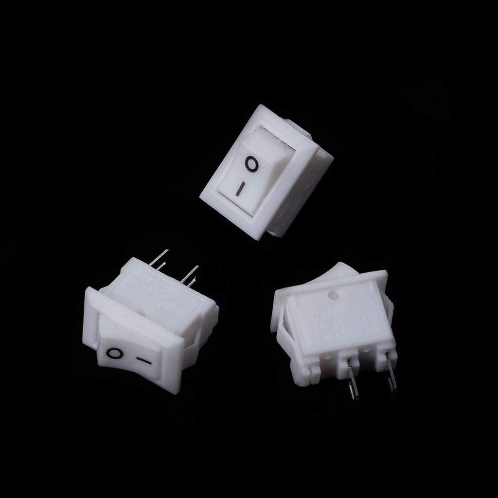 Rtengtunn 10 Piezas 2 Pin 10x15mm SPST ON//Off Terminal de Soldadura Interruptor basculante para Barcos 3A AC 250V