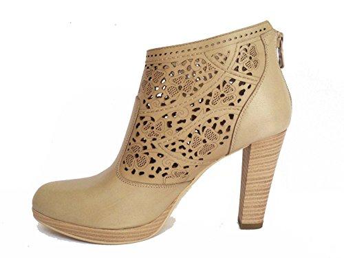 Nero Giardini 12391d Botines De Mujer En Col De Cuero Perforado. Sand Heel Cm. 9 Meseta Cm. 1, Num. 40