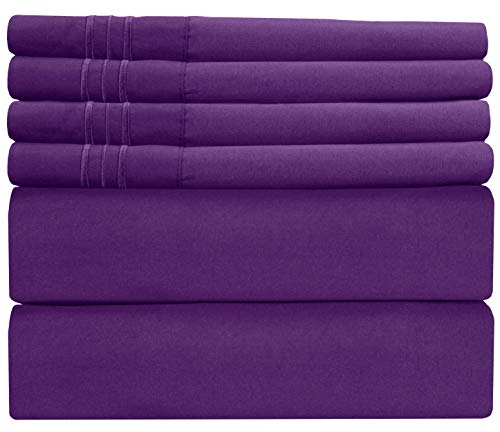 King Size Sheet Set - 6 Piece Set - Hotel Luxury Bed Sheets - Extra Soft - Deep Pockets - Easy Fit Breathable & Cooling - Wrinkle Free - Comfy - Purple Blum Bed Sheets - Kings Sheets - 6 PC from CGK Unlimited