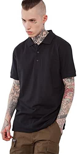 INFLATION Men's Cotton Short-Sleeve Polo Shirts Classic Collared T Shirt Men