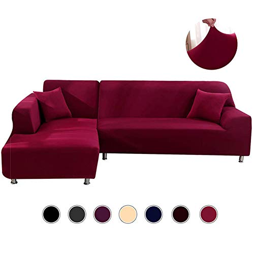 ANGELLOONG L Shape Couch Covers, Anti-Slip Stain Resistant Sectional Slipcovers, Stretch Elastic Fabric L-Shaped Sofa Slipcover (Chaise Lounge 3 With Seater)