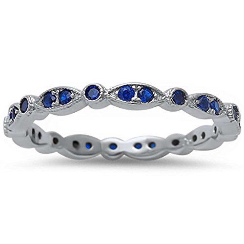 3mm Full Eternity Stackable Wedding Band Ring Round Pave Simulated Sapphire CZ 925 Sterling Silver, Size-7