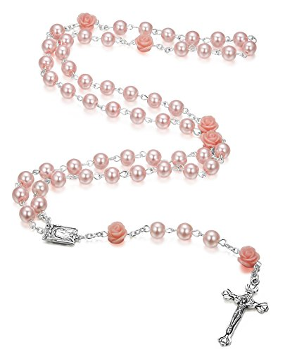 LOYALLOOK 8mm Pink Pearl Rosary Crucifix Necklace Lourdes Medal Centerpiece 30 Inch (Rosary Crucifix Pearl)