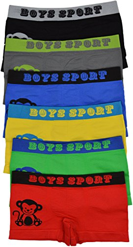 ToBeInStyle Boy's Pack of 6 Graphics Boxer Briefs - Monkey - Medium]()