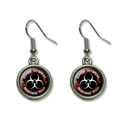 Zombie Outbreak Response Team Biohazard - Bloody Red Novelty Dangling Dangle Drop Charm Earrings]()