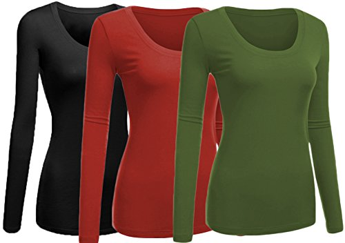 Emmalise Women's Junior and Plus Size Basic Scoop Neck Tshirt Long Sleeve Tee, 3XL, 3pk Black, Rust, Olive (Rust Olive)