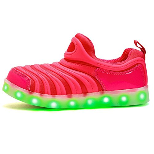 A2kmsmss5a Dance Sneakers Kids LED Light Up Shoes Flashing Sneakers for Girls Boys Halloween (Pink 13 M US Little Kid)