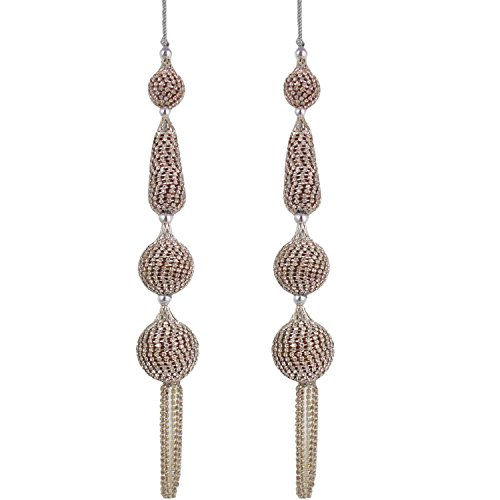 Silver Stone Fashionable Beaded Latkans Decorative Indian Blouse Saree Accessories Tassels 1 Pair