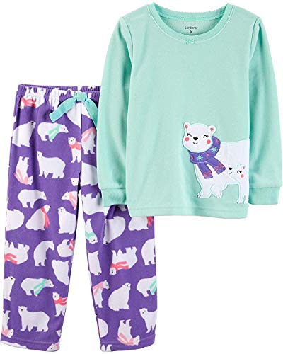 Carter's Girls' 2-Piece Fleece Pajamas Top and Pants Set (Polar Bear, 7)