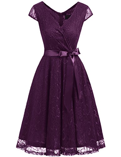 DRESSTELLS DresstellsShort V Neck Bridesmaid Ruched Dress Lace Cocktail Dresses with Belt