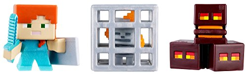 Skeleton in Cage Minecraft Mini Figure (3 Pack) - Magma Cubes Alex with Shield