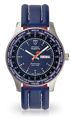 DETOMASO Trieste Mens Wrist Watch Analog Quarz Stainless Steel Blue Leather Strap