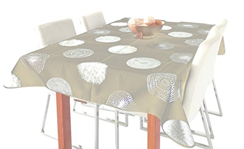 Tablecloth Beige and Silver Sparkling Circle, Stain Resistant, Washable, Liquid Spills bead up, Seats 8 to 10 People (Other Size: 63-Inch Round, 60x80-Inch, 60x120-Inch): (60 x 95-OB)