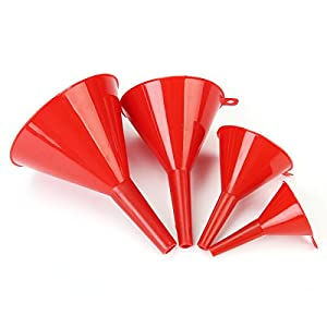 Maintenance & Repair Tools - 4pcs 52/74/96/117mm Fuel Petrol Water Oil Red Funnel Red Spout Pour - Funnel Funnels Plastic Coolant Transmission Fluid Small Spill Lisle Kitchen Pitcher