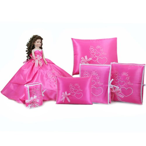 Quinceanera Doll Photo Album Guest Book Bible Kneeling Tiara Pillow Set Q1019 (Basic Set + English Bible) by Quinceanera