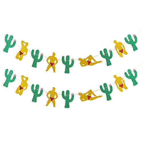 2 Pack Gold Glittery Male Dancers Green Cactus Garland-Bachelorette Wedding Hen Party Supplies Bridal Shower Girls Night Out Party Decoration Supplies ()
