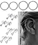 FIBO-STEEL-Stainless-Steel-Cartilage-Earrings-for-Men-Women-Ball-CZ-Stud-Earrings-Helix-Conch-Daith-Piercing-Jewelry-Set