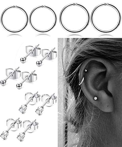 FIBO STEEL Stainless Steel Cartilage Earrings for Men Women Ball CZ Stud Earrings Helix Conch Daith Piercing Jewelry Set