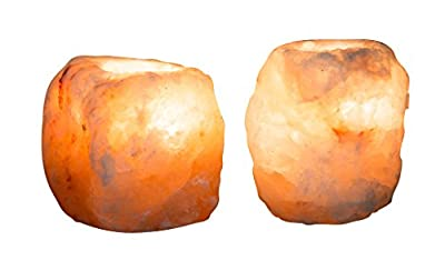Essence Of Himalaya Rock Salt Himalayan Tealight Candle Holders 2 Set | Sturdy,Lightweight &Hand ExtractedSaltBlocks|Decorate Home, Purify&IonizeAir, Improve Sleep & Soothe Allergies/Asthma