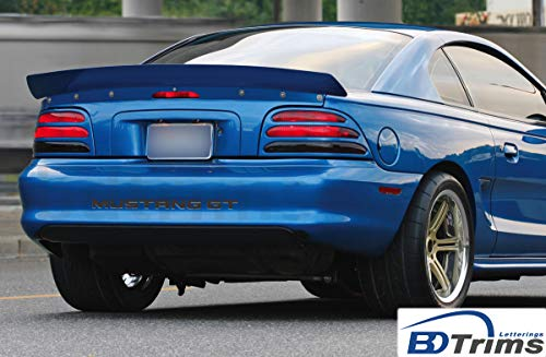 BDTrims Bumper Plastic Letters Inserts fits 1994-1998 Mustang GT Models (Matte Black) ()