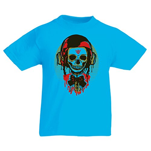 lepni.me T Shirts for Kids A Fashion Skull with Motorcycle Helmet (14-15 Years Light Blue Multi Color)