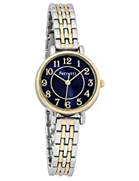 Ferretti Women's | Chic Small Two Tone Gold and Silver Watch with thin Metal Band Blue Face | FT15003