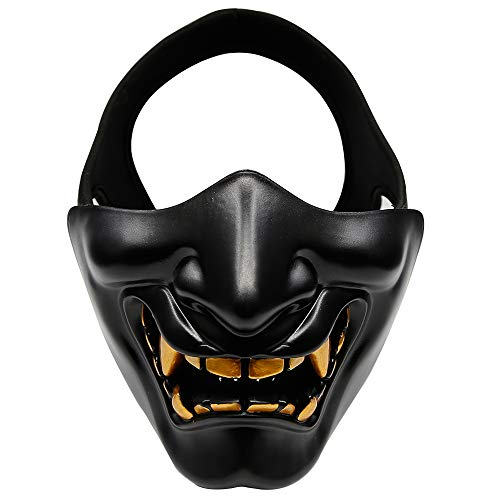 Goolsky Tactical Half Face Mask Protective Mask Devil Evil Smile for Airsoft CS Military Hunting Halloween Party Cosplay Paintball ()