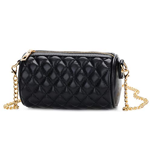 Kids Girls Quilted Crossbody Purse Teens Small Cylinder Duffel Bag with Chain ()
