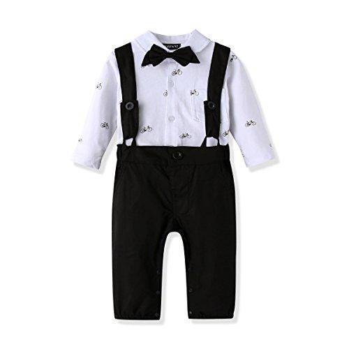 FERENYI US Baby Boys Bowtie Gentleman Romper Jumpsuit Overalls Rompers (7-12 Months, Black 2)