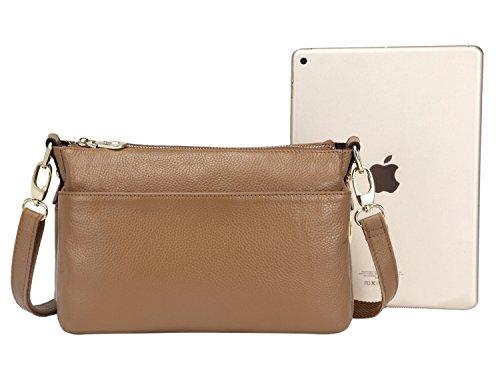 Handtasche Damen Tasche Umhängetasche Leder Elegant Vintage Schule Travel Crossbody Damentasche Coffee