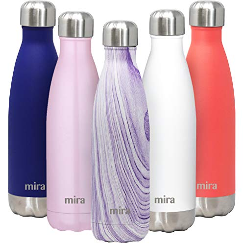 MIRA 17 Oz Stainless Steel Vacuum Insulated Water Bottle | Double Walled Cola Shape Thermos | 24 Hours Cold, 12 Hours Hot | Reusable Metal Water Bottle | Leak-Proof Sports Flask | Purple Granite ()