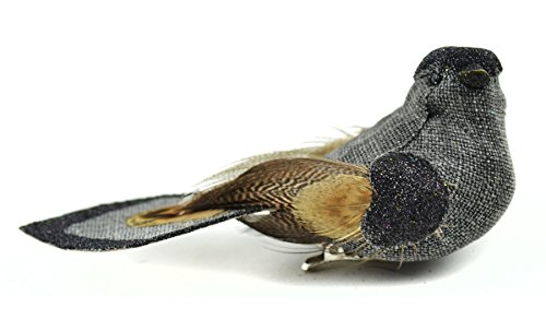 Touch of Nature 1-Piece Linen/Glitter Bird on Clip, 4.25-Inch, Charcoal with Natural Feathers