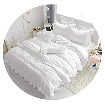 Image of Cotton White Blue Grey Bedding Sets for Girls Queen Twin King Size Duvet Cover Bed Sheet Bed Skirt Set Pillowcase,1,Twin Size 4pcs Home and Kitchen