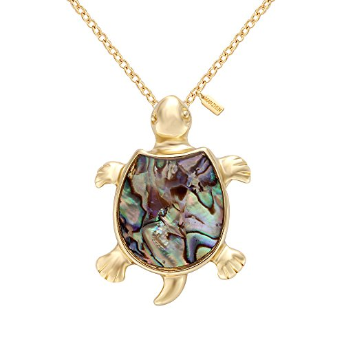 MANZHEN Fashion Retro Sea Turtle Tortoise Natural Abalone Shell Pendant Charming Necklace(Gold)