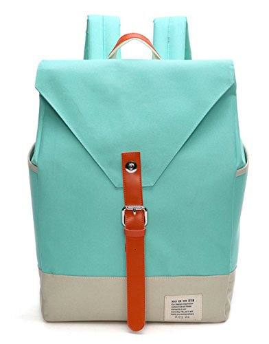 Keshi Canvas Cute College School Laptop Backpack -Straps Reinforced Green