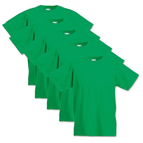 5 Fruit of the loom Kinder T-Shirts Valueweight 104 116 128 140 152 Diverse Farbsets auswählbar 100% Baumwolle (140, Maigrün)