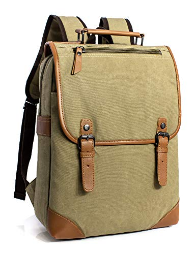 Leaper Vintage Casual Canvas Backpack Travel Rucksack Book bag School Bag Khaki