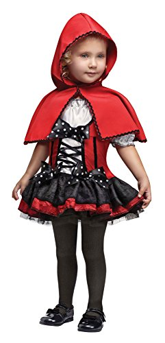 Toddler Sweet Red Hood Girls Costumes (Fun World Costumes Baby Girl's Sweet Red Hood Toddler Costume, Black/Red, Small)