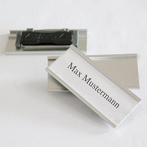 iLP Aluminium Namensschilder - Komplettset 10 Stück mit Doppelmagnet und Clip Nadelbefestigung - professionelle Qualität, modisch gewölbt ca. 72x32mm (10er Set)