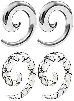 BIG GAUGES Pair of White Acrylic Taper Solid Spiral Coil O-Rings Piercing Jewelry Ear Plug Stretching Expander Earring
