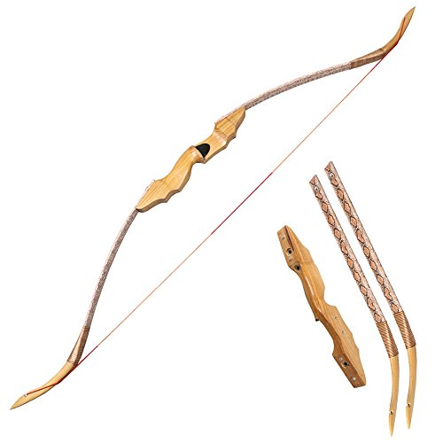 Huntingdoor 40-50lb Archery Takedown Recurve Bow Wood Riser Right Hand (50)