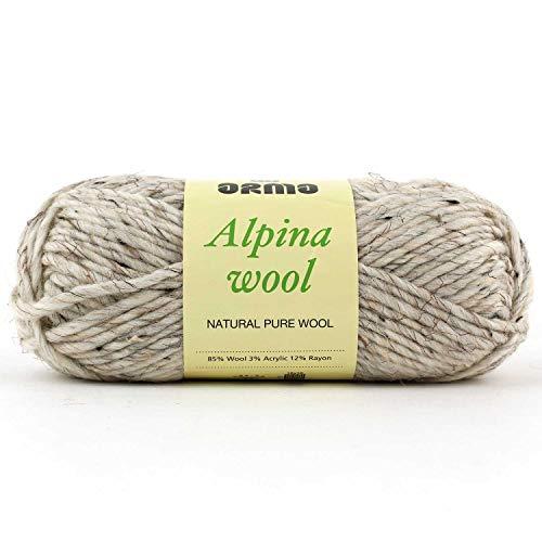 (Alpina Wool (Light Beige Mix) 4 Pack (Skeins) Wool Roving Yarn - (5) Bulky 85% Wool, 3% Acrylic, 12% Rayon - 3oz - for Crochet, Knitting &)
