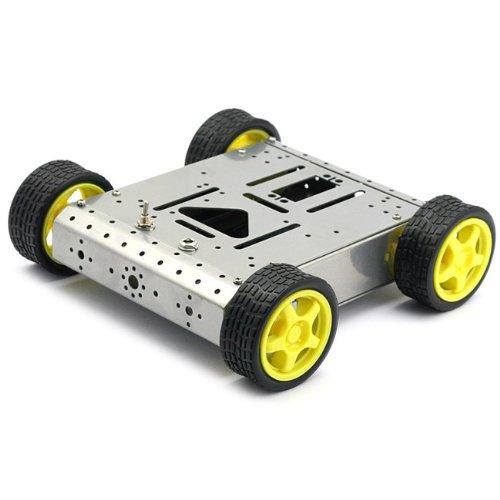 SainSmart 4WD Drive Aluminum Mobile Robot Platform for Robot Arduino UNO MEGA2560 R3 DuemilanoveSilver