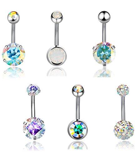 - REVOLIA 4-5Pcs 14G Stainless Steel Belly Button Rings for Women Girls Navel Rings CZ Body Piercing (I: 6PCS AB)