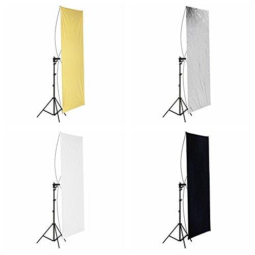 Neewer® Flat Panel Light Reflector Kit,Include:(1)35'' x 70''/ 90 x 180cm Photo Studio Gold/Silver & Black/White Flat Panel Light Reflector with 360 Degree Rotating Holding Bracket+(1)75''/190cm (6 feet) Photography Studio Alluminum Alloy Light Stand+(1)Car by Neewer