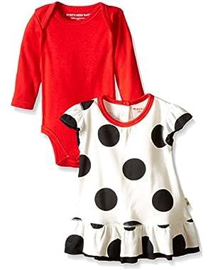 Girls Organic Polka Dot Ruffle Dress and Bodysuit Set