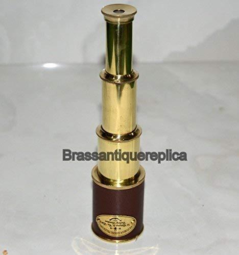 saif.nautical.store 9' Brass Spyglass Leather Telescope Pirate Marine Victorian